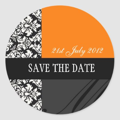 Orange and Black Damask Wedding Stickers by Eternalflame