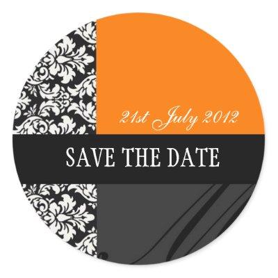Orange and Black Damask Wedding Stickers by Eternalflame