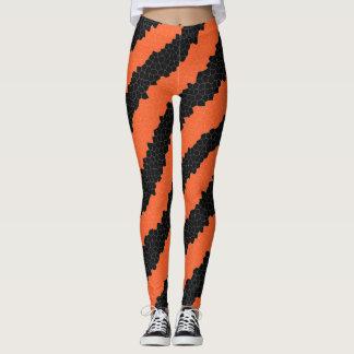 Orange and Black Diagonal Stripe Halloween Mosaic Leggings