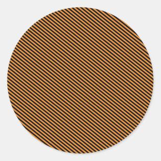 Orange and Black Diagonal Stripes Round Stickers