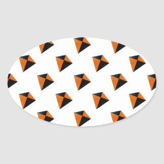 Orange and Black Diamond Kites Oval Sticker