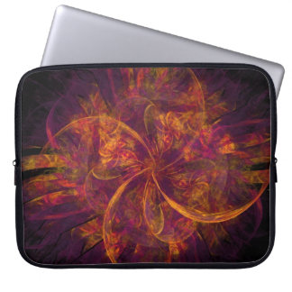 Orange And Black Fractal Laptop Sleeve