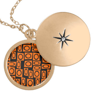 Orange and Black Fun Circle Squares Pattern Gifts Personalized Necklace