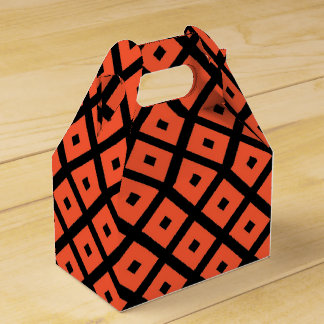 Orange And Black Geometric Checkered Pattern Favour Box