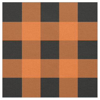 Orange and Black Gingham Pattern Fabric