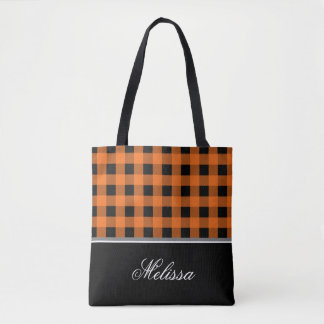 Orange and Black Gingham | Personalized Tote Bag