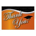 Orange and Black Graduation Thank You Cards