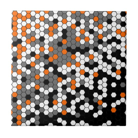 Orange and black honeycomb design tile