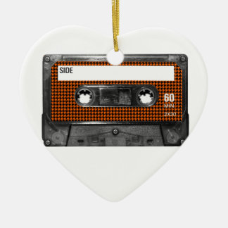 Orange and Black Houndstooth Cassette Ceramic Heart Decoration