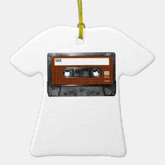 Orange and Black Houndstooth Cassette Ceramic T-Shirt Decoration