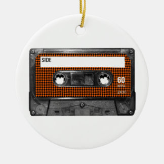 Orange and Black Houndstooth Cassette Christmas Tree Ornament
