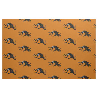 Orange And Black Kokopelli Pattern Southwest Fabric