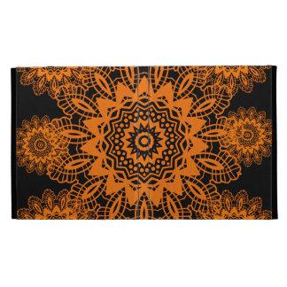 Orange and Black Lace Doily Snowflake Mandala iPad Case