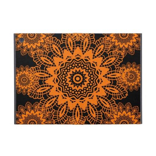 Orange and Black Lace Doily Snowflake Mandala Case For iPad Mini
