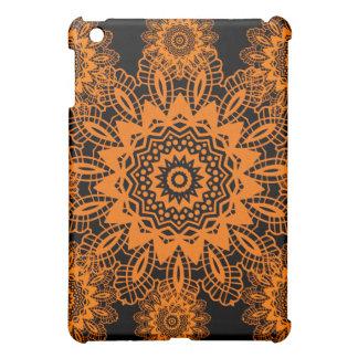 Orange and Black Lace Doily Snowflake Mandala iPad Mini Case