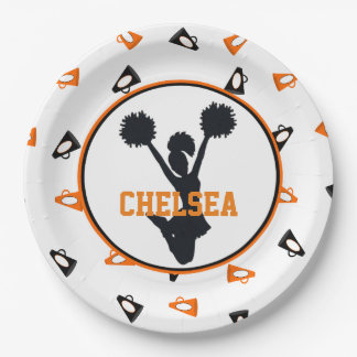 Orange and Black Megaphones Cheerleader Party Paper Plate