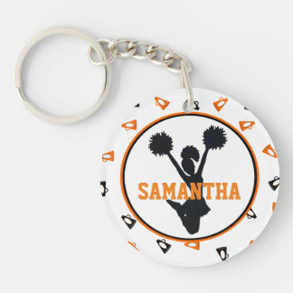 Orange and Black Megaphones Cheerleader Photo Key Ring