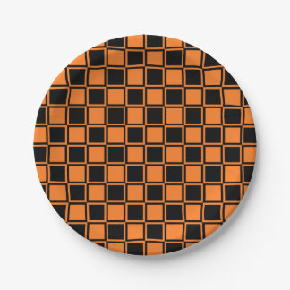 Orange and Black Outlined Squares Paper Plate