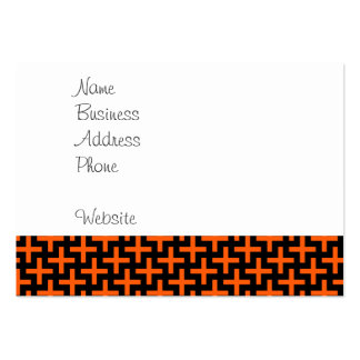 Orange and Black Pattern Crosses Plus Signs Business Cards