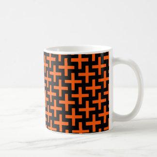 Orange and Black Pattern Crosses Plus Signs Mugs