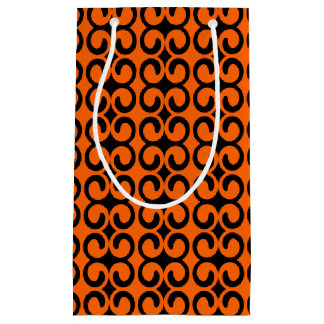 Orange and Black Pattern Small Gift Bag