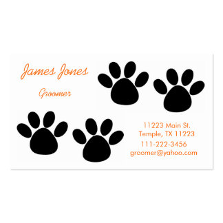 Orange and Black Paw Prints Groomer Business Card