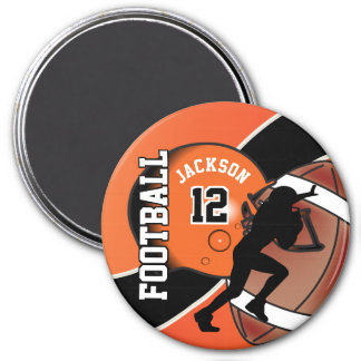 Orange and Black Personalize Football Magnet