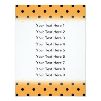Orange and Black Polka Dot Pattern. 11 Cm X 14 Cm Invitation Card