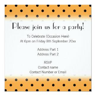 Orange and Black Polka Dot Pattern. 13 Cm X 13 Cm Square Invitation Card