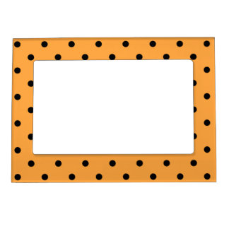 Orange and Black Polka Dot Pattern. Magnetic Frame