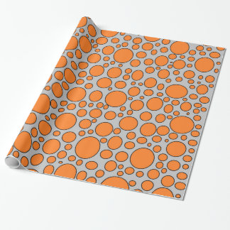 Orange and Black Polka Dots Grey Wrapping Paper