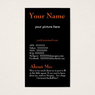 Orange and Black Profile Card