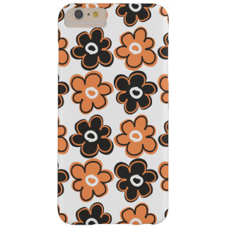 Orange And Black Retro Flowers Pattern Barely There iPhone 6 Plus Case