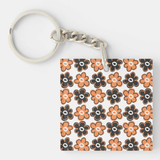 Orange And Black Retro Flowers Pattern Double-Sided Square Acrylic Key Ring