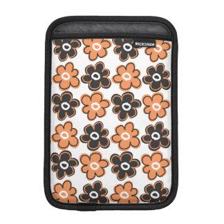 Orange And Black Retro Flowers Pattern iPad Mini Sleeves