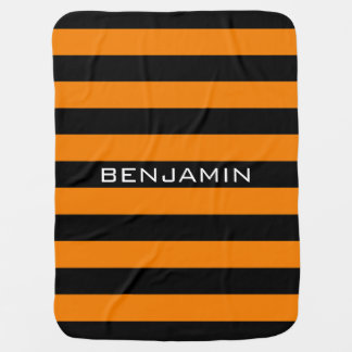 Orange and Black Rugby Stripes with Custom Name Baby Blankets