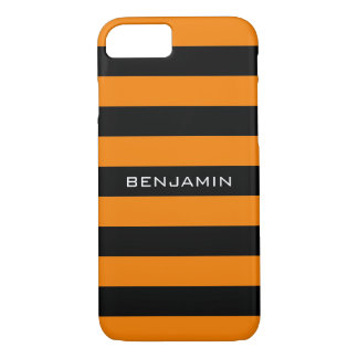 Orange and Black Rugby Stripes with Custom Name iPhone 8/7 Case