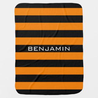Orange and Black Rugby Stripes with Custom Name Receiving Blanket