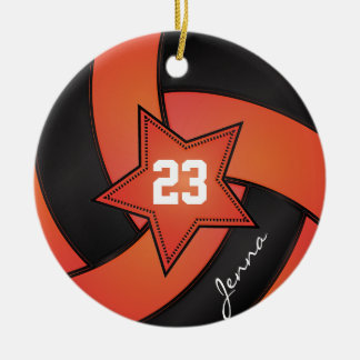Orange and Black Star Volleyball Round Ceramic Decoration