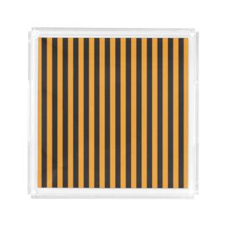 Orange and Black Stripes Acrylic Tray