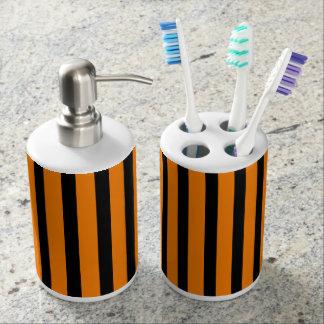 Orange and Black Stripes Bathroom Set