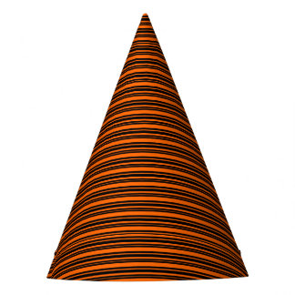 Orange and Black Stripes Halloween Party Hat