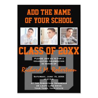 Orange and Black Team Colours Sports Graduation 13 Cm X 18 Cm Invitation Card