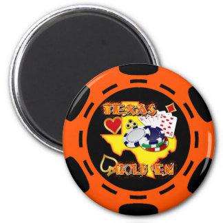 ORANGE AND BLACK TEXAS HOLD 'EM POKER CHIP 6 CM ROUND MAGNET