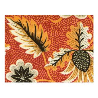 Orange and Black Vintage Floral Postcard
