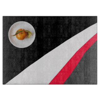 Orange and Black White Red Gray Background Cutting Board