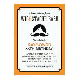 Orange and black wig mustache bash birthday party 13 cm x 18 cm invitation card