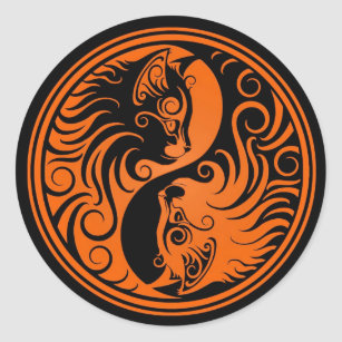 Orange and Black Yin Yang Cats Classic Round Sticker