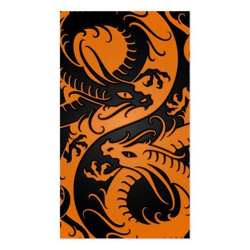 Orange and Black Yin Yang Chinese Dragons Business Card Templates