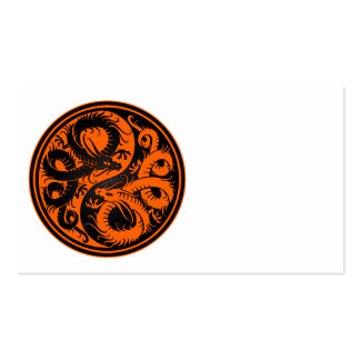 Orange and Black Yin Yang Chinese Dragons Business Card Templates